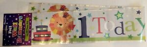 """Metallic Holographic Foil Party Banner  - Multi Coloured """"1 Today"""""""