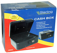 """Sterling 8"""" Cash Money Box With Combination Lock Petty Safe Tin Black"""