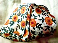 """INDIAN 100% PURE SILK HANDMADE SQUARE WHITE FLORAL DESIGN SCARF 21""""x 21"""" £7.50"""