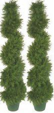 """2 CYPRESS SPIRAL TOPIARY ARTIFICIAL OUTDOOR TREE 4' 2"""" CEDAR POOL PATIO BUSH 50"""""""