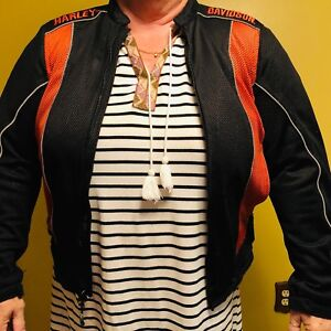 Womens Black Orange Harley Davidson Motorcycle Gear Jacket XL