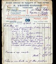 "TOURCOING (59) PARQUET & CIRE / PARQUETERIE ""H. VROONE & EVRARD"" en 1911"