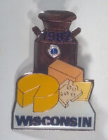 """Vintage 1982 Wisconsin Lions Club Lapel Hat Pin 2"""" Tie Tack Dairy Cheese Milk"""