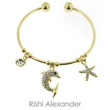 18k Gold Filled CZ Dolphin and Starfish Nautical Cuff Bracelet
