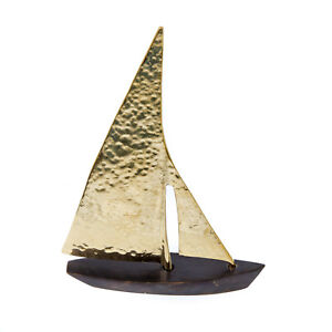 Sailing Boat Handmade of Solid Brass Metal, Nautical Decor, Brown & Gold, Small