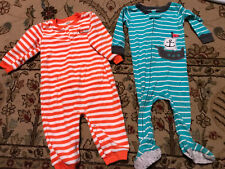 Baby Boys Sleepers Lot Of 2 One Is Fleece Other Light Cotton