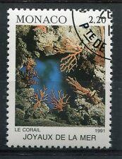 MONACO - 1991, timbre 1774, POISSONS, CORAIL, oblitéré