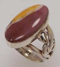 925 STERLING SILVER OVAL AGATE SOLITAIRE RING SIZE 8.5 RT4