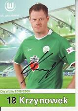 FOOTBALL carte joueur JACEK KRZYNOWEK équipe VfL WOLFSBURG signée