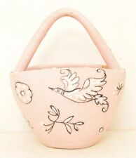 Pink Textured Pottery Basket Purse Tote Bird Floral Signed Italy Hand Painted