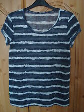 Dorothy Perkins Indigo/Blue/White Stripe Linen Style T-shirt -->8-10UK RRP £16
