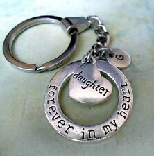 Daughter Keychain Forever in My Heart with Letter Charm * Great Daughter Gift