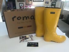 SUPERB NEW Roma Waterproof CLASSIC YELLOW LADIES RAIN BOOTS Size 8 NEW IN BOX
