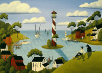 Print of folk art painting HARBOR TOWN boy dog ship lighthouse boat village DC