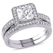 Amour Sterling Silver Square-cut Cubic Zirconia Halo Bridal Ring Set