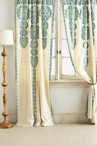 Anthropologie Curtain MARRAKECH Embroidered AQUA Moroccan Cotton Panel 63 84 NWT