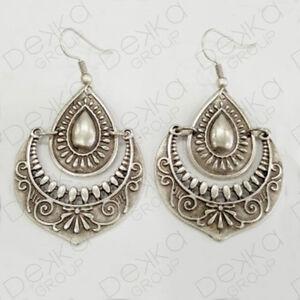 Silver Teardrop Earrings Ottoman Turkish Ethnic Tribal Gypsy Boho