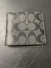 COACH Men Signature Double Billfold Wallet in Charcoal/Black F75083 $150 AUT