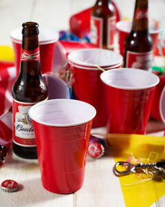 Party Cups Red Amercian 12oz Plastic Red Party Cups (Beer Pong) Disposable