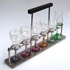 6 verres à liqueurs art déco et son plateau chrome et bois.
