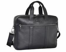 Laptoptasche Aktentasche Leder Umhängetasche - 15,6 Zoll Notebook-Tasche Schwarz