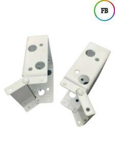 Pair White Venetian blind box brackets - 58 x 40mm Headrail wooden blind