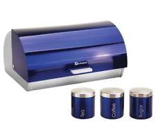 Metallic Tea Coffee Sugar Storage Canister Tin Jar Pot Container & Bread Bin Set