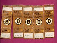 5 X RARE 1985  BOSTON BRUINS UNSTAMPED  TICKET STUB (INV# 8561)