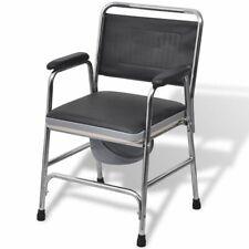 vidaXL Commode Chair Steel Black Bathroom Bedside Shower Toilet Potty Seat