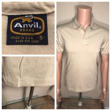 Vintage Anvil Brand Polo T-shirt Deadstock Tan Khaki SMALL single Stitch USA NOS