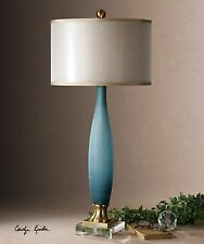 RICH ETCHED FROSTED COBALT BLUE GLASS TABLE LAMP CRYSTAL FOOT BRASS DETAIL