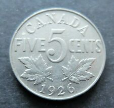 1926 NEAR 6 CANADA 5 CENTS COIN, FINE CIRCULATED CONDITION, LOT#58C
