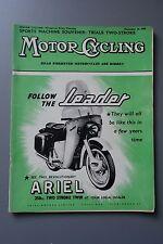R&L Mag: Motor Cycling Dec 18 1958 Ariel Leader/Touring Switzerland/Avanti K