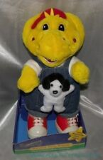 "NEW Rare 1997 Plush 13"" BARNEYS FARM FRIENDS Yellow DINOSAUR BJ Friend w/Puppy"