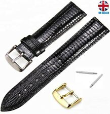 GENUINE BLACK GLOSSY LEATHER WATCH STRAP SIZE 18-16-20-22MM Seiko rado Roamer