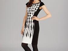 Karen Millen Texture Smudge Print Bodycon Panel Pencil Party Fit Dress 10 38
