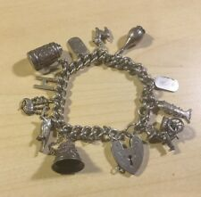 Vintage Sterling Silver Charm Bracelet 30 Charms Heavy 95g+ Moveable