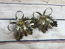 New listing Set Of 2 Leaf Napkin Rings Rustic Gold Color Metal Fall Autumn Holiday Home Deco