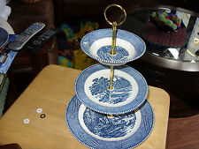 Currier and Ives 3 tier tidbit tray, Royal China USA Blue,
