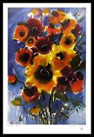 Franz Aumüller Sommerblumen Poster Bild Kunstdruck im Alu Rahmen schwarz 60x50cm