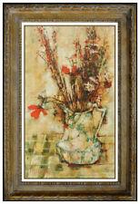 Michel De Gallard Original Oil Painting On Canvas Signed Still Life Flowers Art