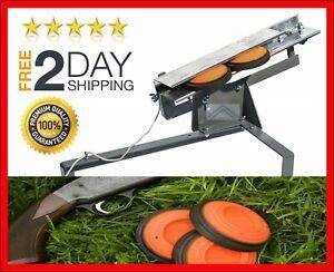 2 Double Skeet Thrower Clay Pigeon Trap Machine Shotgun Shooter Target Practice