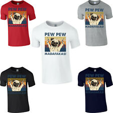 Pew Pew Madafakas Bulldog T-Shirt Funny Gangster Guns Dog Lover Pug Gift Tee Top