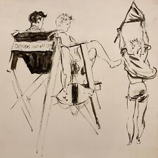 WALTER STUEMPFIG 20th c. American DRAWING Cape May Lifeguards #4 JERSEY SHORE
