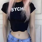 Black PSYCHO Crop Top Tight Goth Rave Grunge S Emo Stretch Alternative Cyber