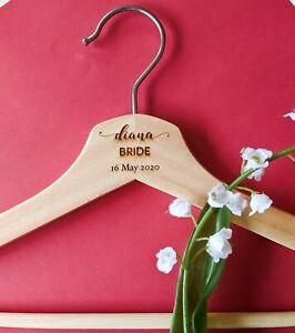 Personalised Engraved (script) Wedding Coat Hangers Natural Wood