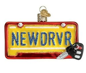 New Driver Old World Christmas New Blown Glass Glitter Accents License Plate