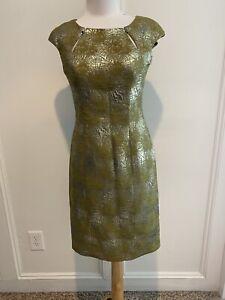 kay Unger New York Dress sz 2 Gold & Olive