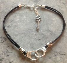 "Handcuffs & Key 10""+0.6"" Ext Leather Anklet - Police, 50 Shades of Grey"