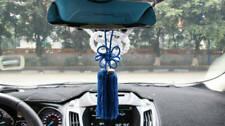 A Set New VIP Car Charm JDM Fusa Blue Kiku JP Knot & White Kin Tsuna Rope